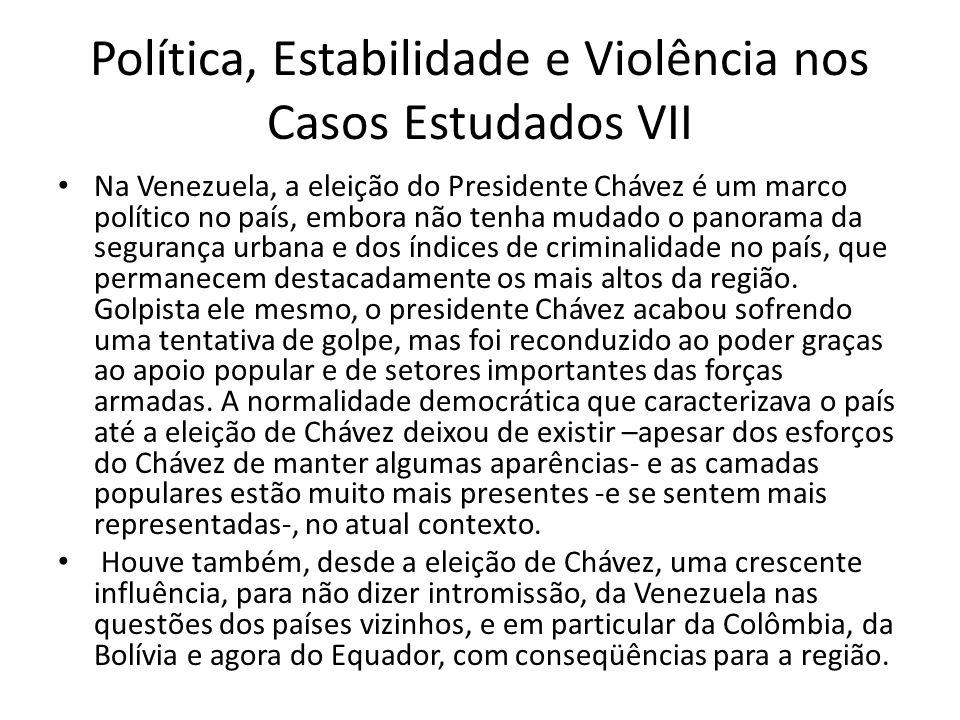 Política, Estabilidade e Violência nos Casos Estudados VII Na Venezuela, a eleição do Presidente Chávez é um marco político no país, embora não tenha