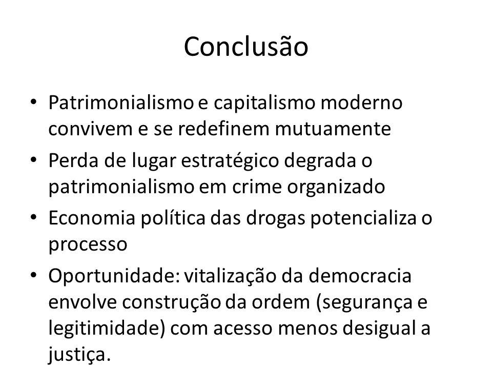 Conclusão Patrimonialismo e capitalismo moderno convivem e se redefinem mutuamente Perda de lugar estratégico degrada o patrimonialismo em crime organ