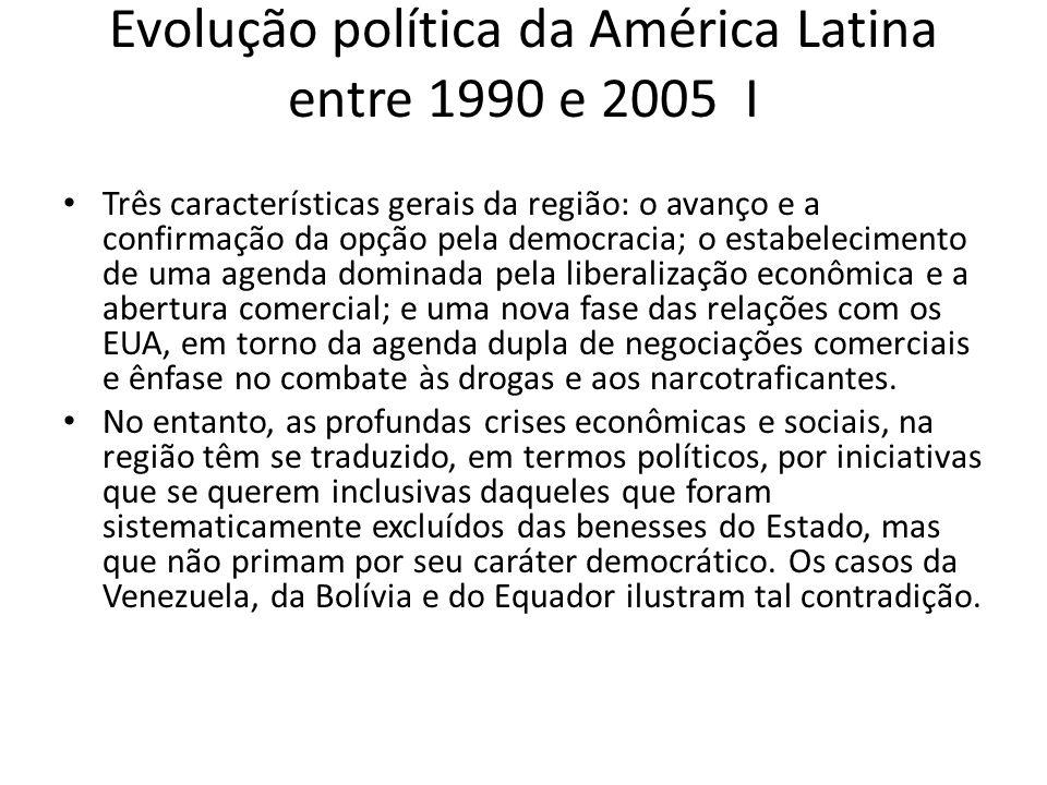 Evolução política da América Latina entre 1990 e 2005 I Três características gerais da região: o avanço e a confirmação da opção pela democracia; o es