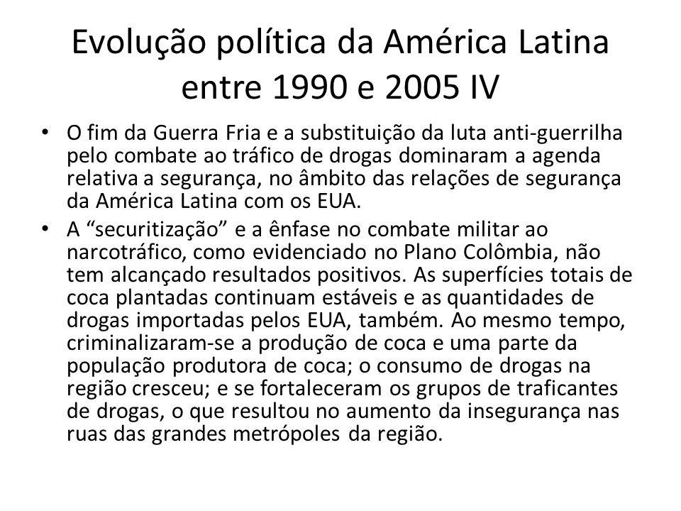 Evolução política da América Latina entre 1990 e 2005 IV O fim da Guerra Fria e a substituição da luta anti-guerrilha pelo combate ao tráfico de droga