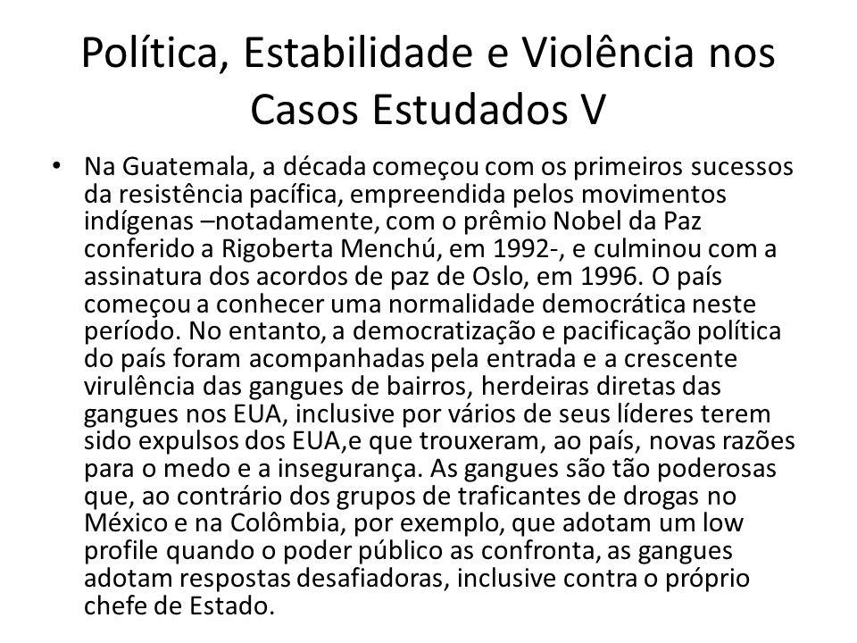 Política, Estabilidade e Violência nos Casos Estudados V Na Guatemala, a década começou com os primeiros sucessos da resistência pacífica, empreendida