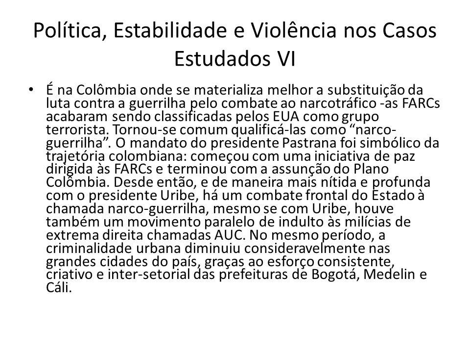 Política, Estabilidade e Violência nos Casos Estudados VI É na Colômbia onde se materializa melhor a substituição da luta contra a guerrilha pelo comb