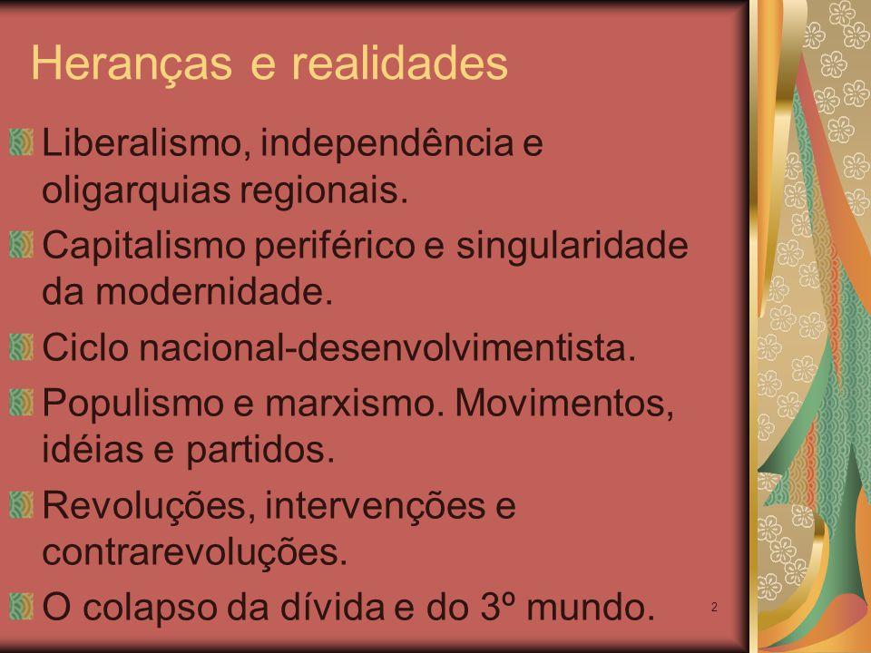 2 Heranças e realidades Liberalismo, independência e oligarquias regionais. Capitalismo periférico e singularidade da modernidade. Ciclo nacional-dese