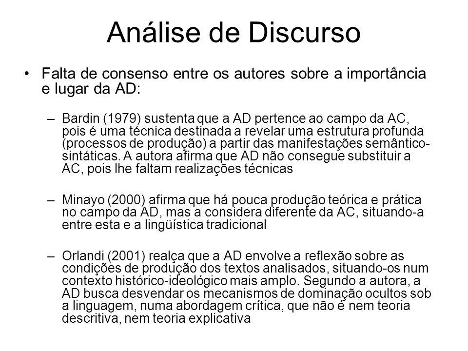 Análise de Discurso Falta de consenso entre os autores sobre a importância e lugar da AD: –Bardin (1979) sustenta que a AD pertence ao campo da AC, pois é uma técnica destinada a revelar uma estrutura profunda (processos de produção) a partir das manifestações semântico- sintáticas.