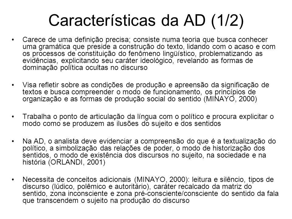 Características da AD (1/2) Carece de uma definição precisa; consiste numa teoria que busca conhecer uma gramática que preside a construção do texto,