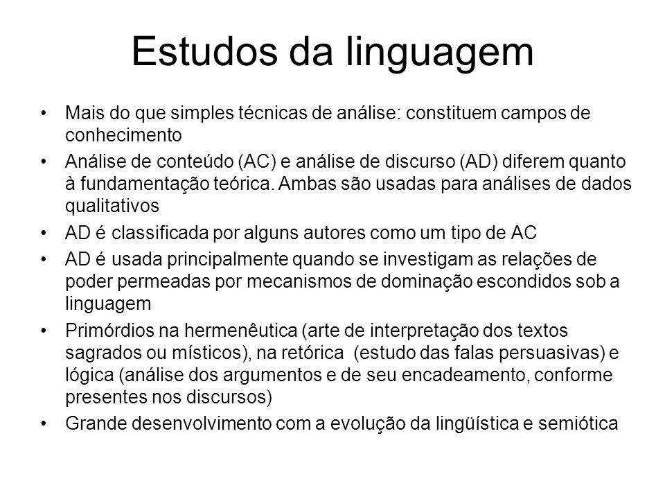 Estudos da linguagem Mais do que simples técnicas de análise: constituem campos de conhecimento Análise de conteúdo (AC) e análise de discurso (AD) diferem quanto à fundamentação teórica.