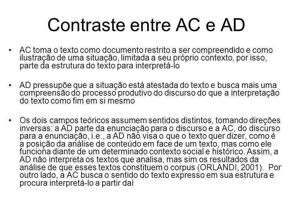 Contraste entre AC e AD AC toma o texto como documento restrito a ser compreendido e como ilustração de uma situação, limitada a seu próprio contexto,