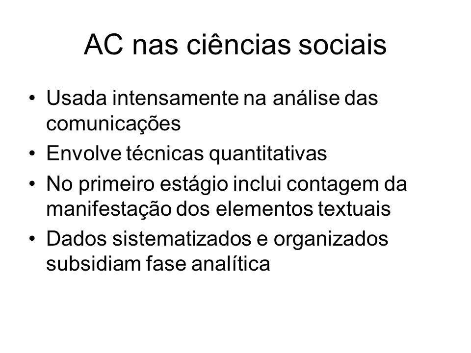 AC nas ciências sociais Usada intensamente na análise das comunicações Envolve técnicas quantitativas No primeiro estágio inclui contagem da manifestação dos elementos textuais Dados sistematizados e organizados subsidiam fase analítica