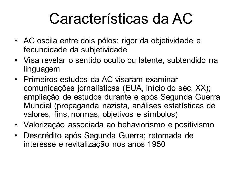 Características da AC AC oscila entre dois pólos: rigor da objetividade e fecundidade da subjetividade Visa revelar o sentido oculto ou latente, subte
