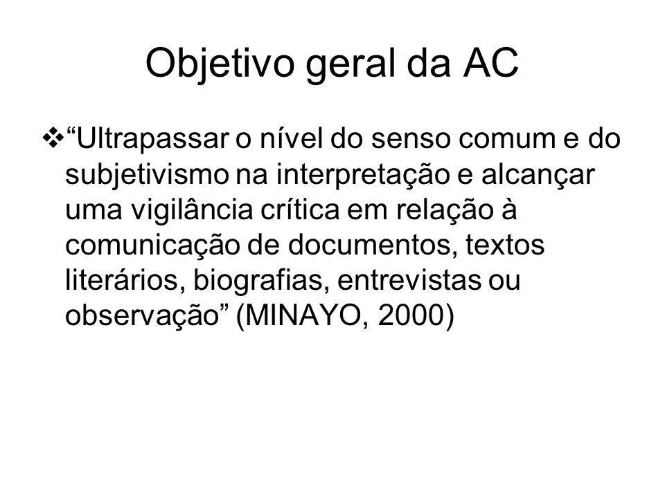 Objetivo geral da AC Ultrapassar o nível do senso comum e do subjetivismo na interpretação e alcançar uma vigilância crítica em relação à comunicação de documentos, textos literários, biografias, entrevistas ou observação (MINAYO, 2000)