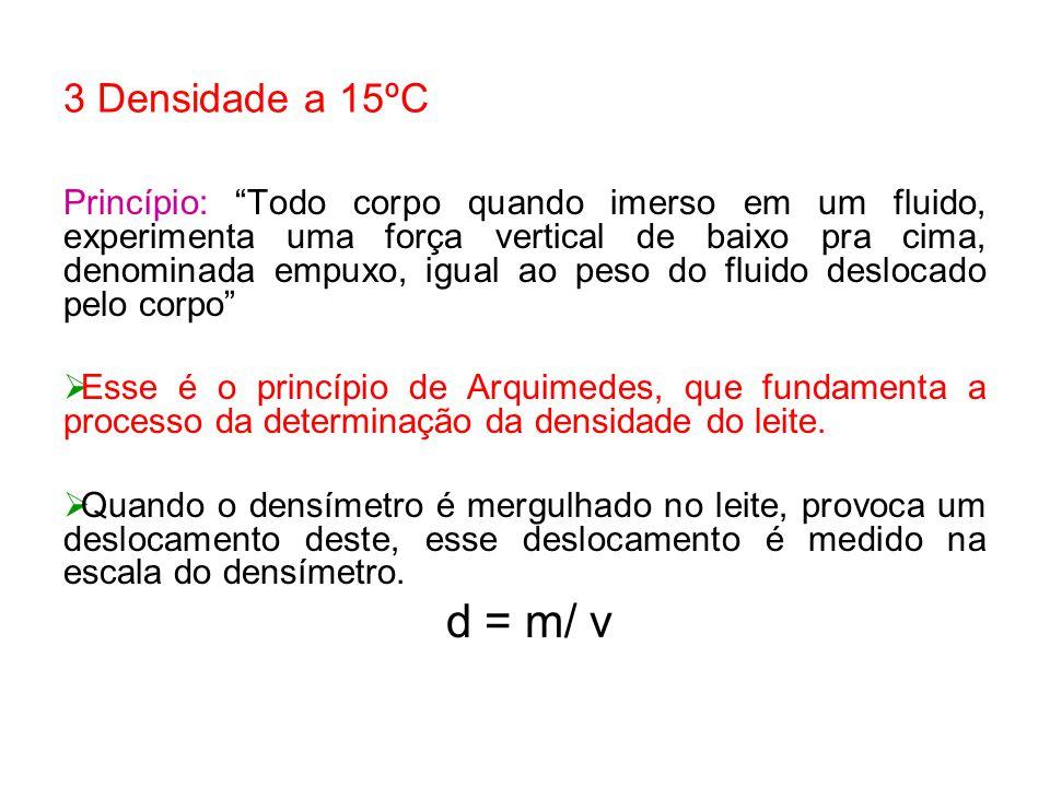 3 Densidade a 15ºC Princípio: Todo corpo quando imerso em um fluido, experimenta uma força vertical de baixo pra cima, denominada empuxo, igual ao pes