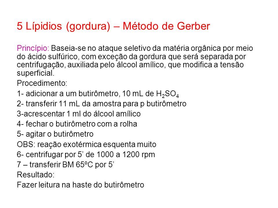 5 Lípidios (gordura) – Método de Gerber Princípio: Baseia-se no ataque seletivo da matéria orgânica por meio do ácido sulfúrico, com exceção da gordur