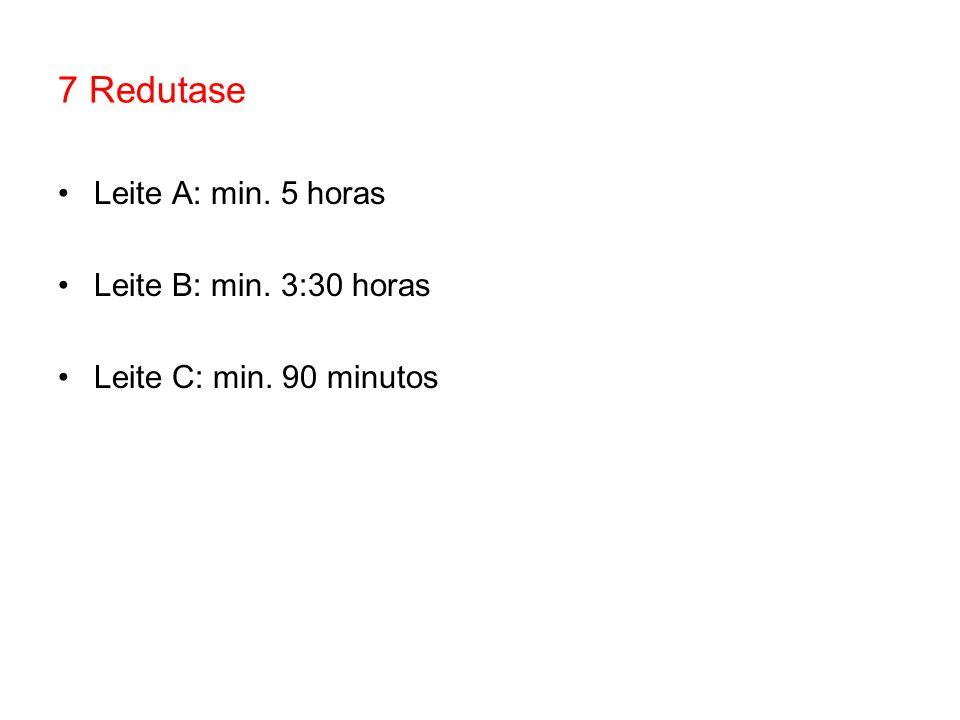 7 Redutase Leite A: min. 5 horas Leite B: min. 3:30 horas Leite C: min. 90 minutos