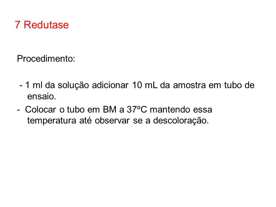 Procedimento: - 1 ml da solução adicionar 10 mL da amostra em tubo de ensaio. - Colocar o tubo em BM a 37ºC mantendo essa temperatura até observar se