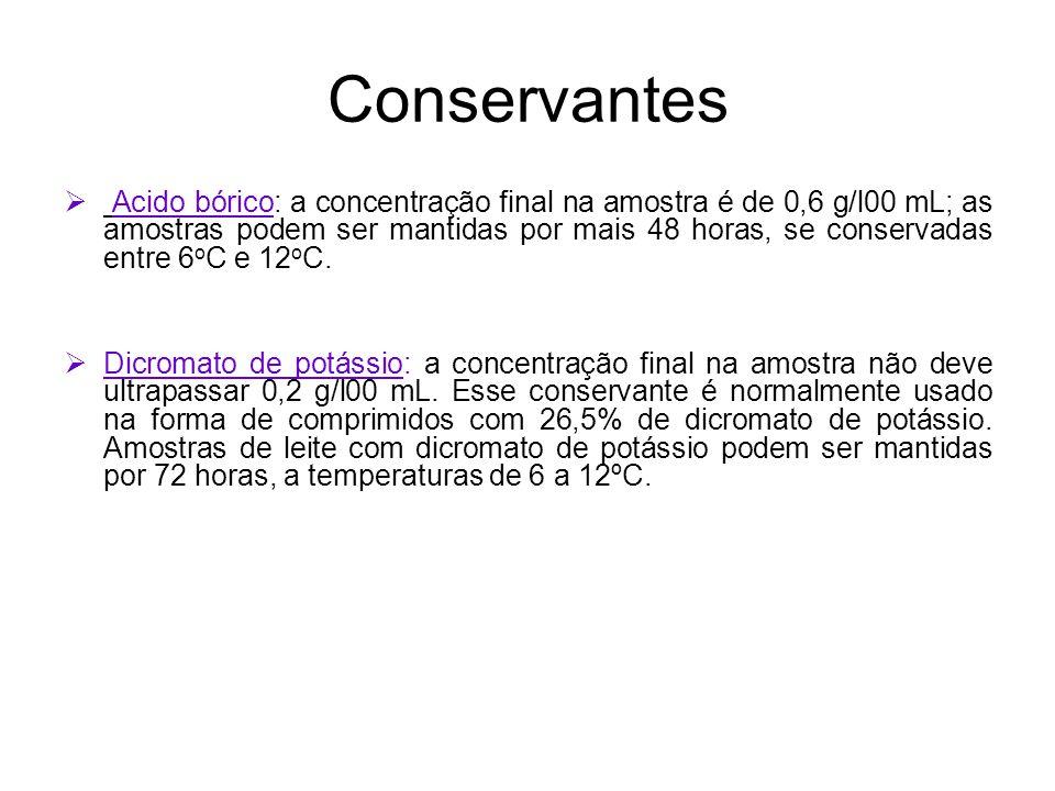Conservantes Acido bórico: a concentração final na amostra é de 0,6 g/l00 mL; as amostras podem ser mantidas por mais 48 horas, se conservadas entre 6