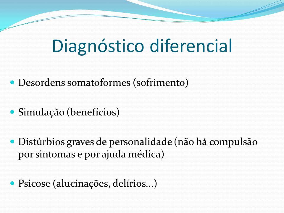 Diagnóstico diferencial Desordens somatoformes (sofrimento) Simulação (benefícios) Distúrbios graves de personalidade (não há compulsão por sintomas e
