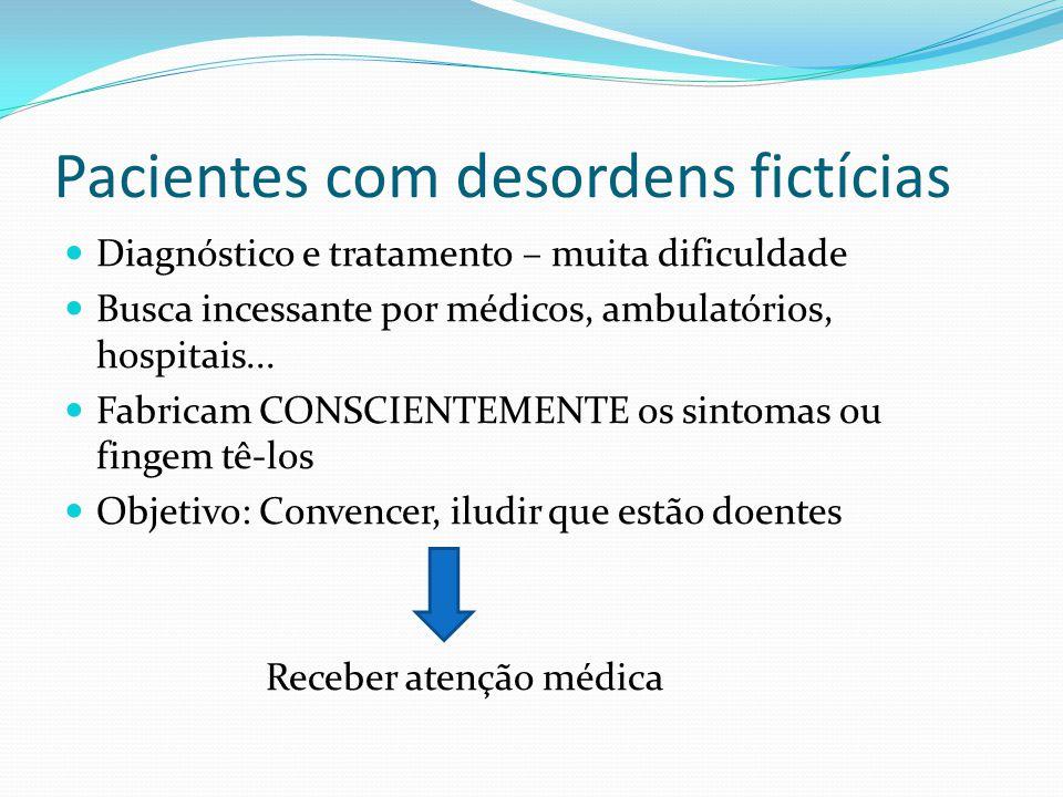 Pacientes com desordens fictícias Diagnóstico e tratamento – muita dificuldade Busca incessante por médicos, ambulatórios, hospitais... Fabricam CONSC