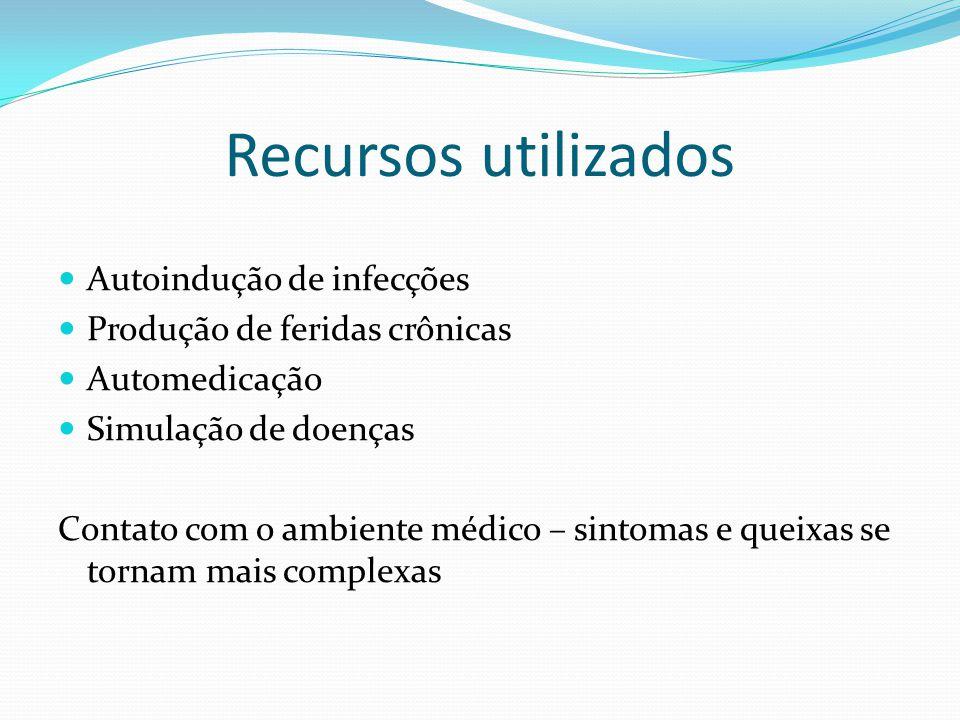 Recursos utilizados Autoindução de infecções Produção de feridas crônicas Automedicação Simulação de doenças Contato com o ambiente médico – sintomas