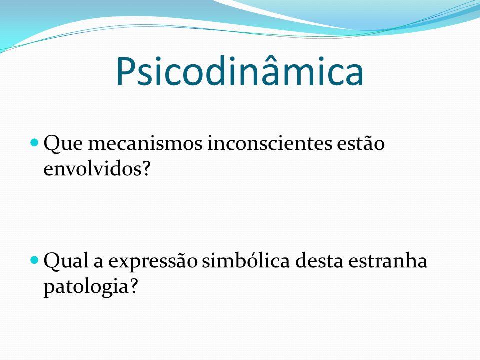 Psicodinâmica Que mecanismos inconscientes estão envolvidos? Qual a expressão simbólica desta estranha patologia?
