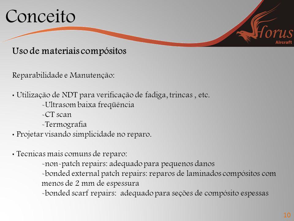 Conceito 10 Uso de materiais compósitos Reparabilidade e Manutenção: Utilização de NDT para verificação de fadiga, trincas, etc. -Ultrasom baixa freqü