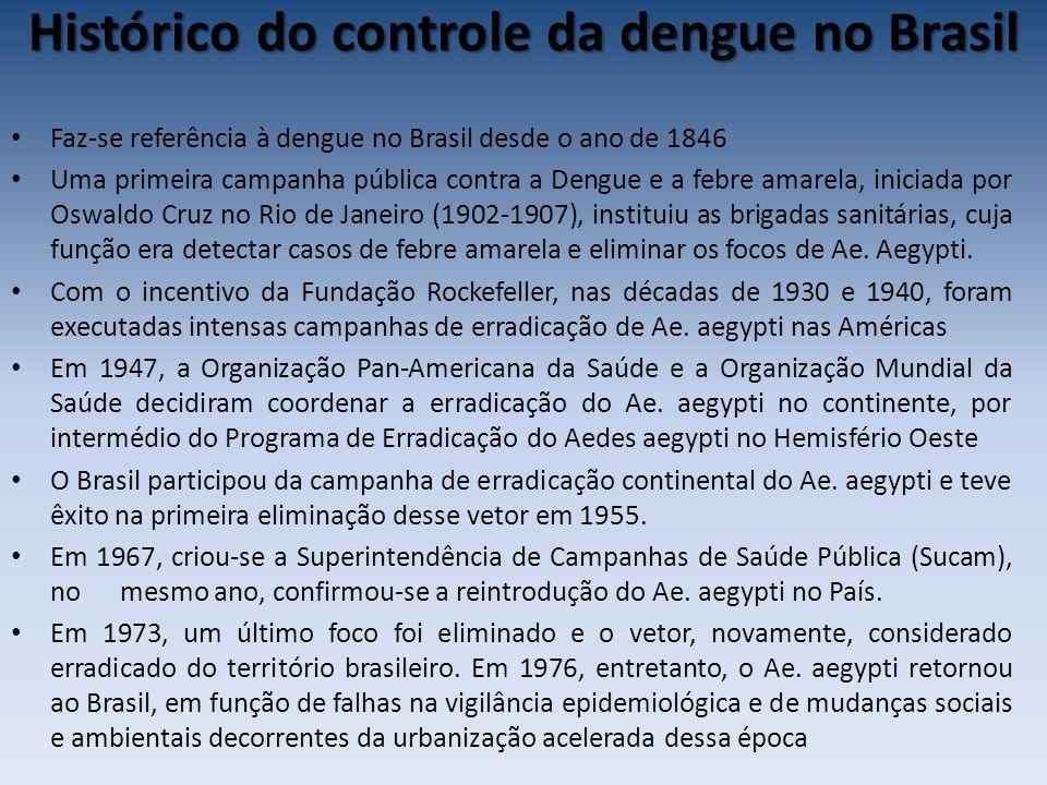 Histórico do controle da dengue no Brasil Faz-se referência à dengue no Brasil desde o ano de 1846 Uma primeira campanha pública contra a Dengue e a febre amarela, iniciada por Oswaldo Cruz no Rio de Janeiro (1902-1907), instituiu as brigadas sanitárias, cuja função era detectar casos de febre amarela e eliminar os focos de Ae.