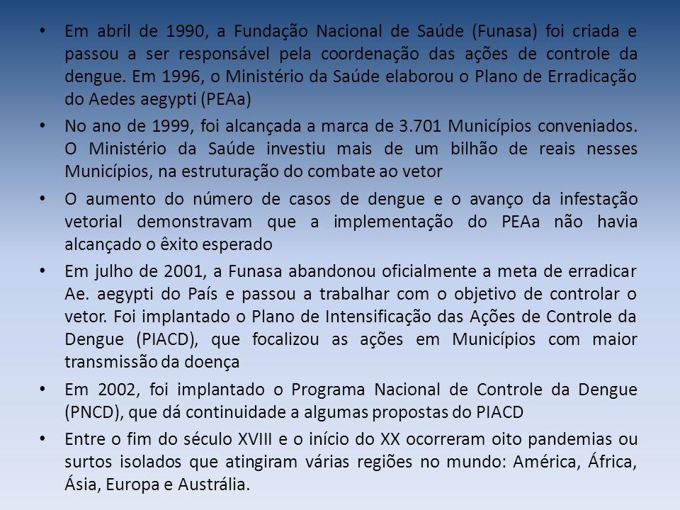 Em abril de 1990, a Fundação Nacional de Saúde (Funasa) foi criada e passou a ser responsável pela coordenação das ações de controle da dengue.