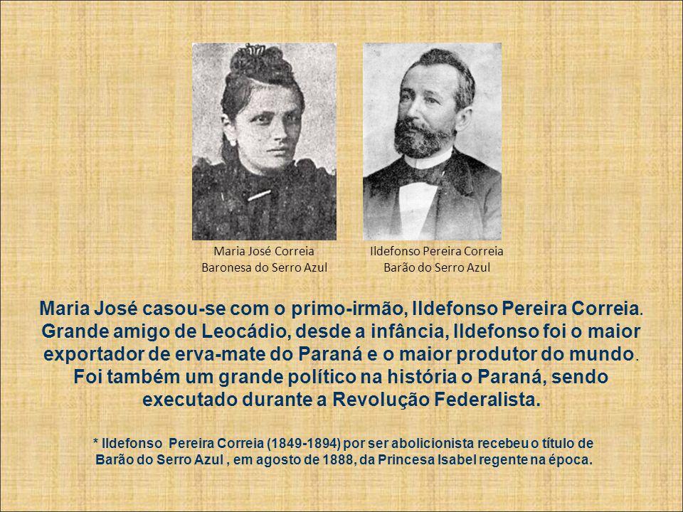 Maria José casou-se com o primo-irmão, Ildefonso Pereira Correia.