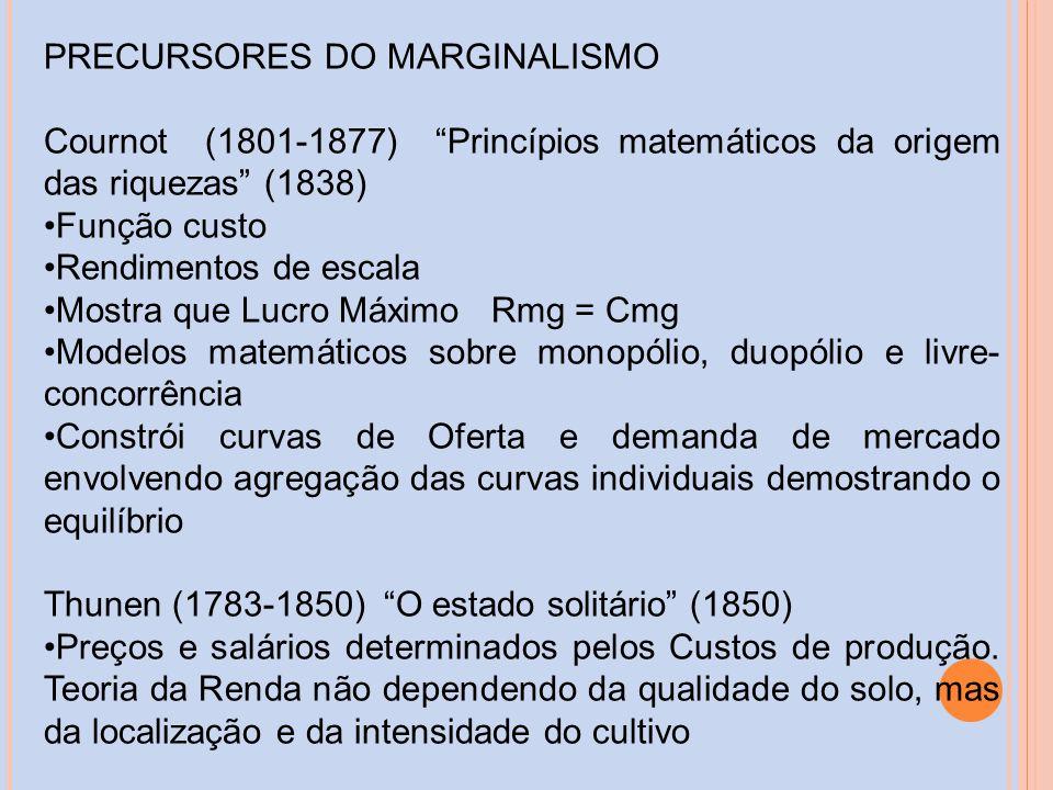 PRECURSORES DO MARGINALISMO Cournot (1801-1877) Princípios matemáticos da origem das riquezas (1838) Função custo Rendimentos de escala Mostra que Luc