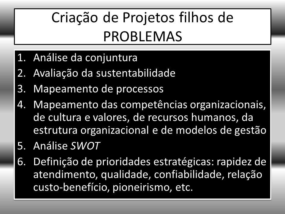 Criação de Projetos filhos de PROBLEMAS 1.Análise da conjuntura 2.Avaliação da sustentabilidade 3.Mapeamento de processos 4.Mapeamento das competências organizacionais, de cultura e valores, de recursos humanos, da estrutura organizacional e de modelos de gestão 5.Análise SWOT 6.Definição de prioridades estratégicas: rapidez de atendimento, qualidade, confiabilidade, relação custo-benefício, pioneirismo, etc.
