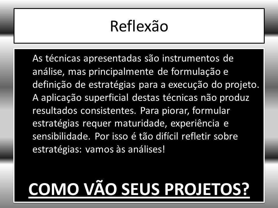 Reflexão As técnicas apresentadas são instrumentos de análise, mas principalmente de formulação e definição de estratégias para a execução do projeto.
