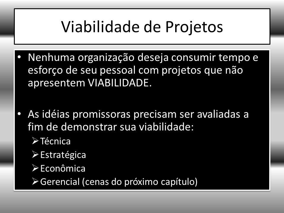 Viabilidade de Projetos Nenhuma organização deseja consumir tempo e esforço de seu pessoal com projetos que não apresentem VIABILIDADE.
