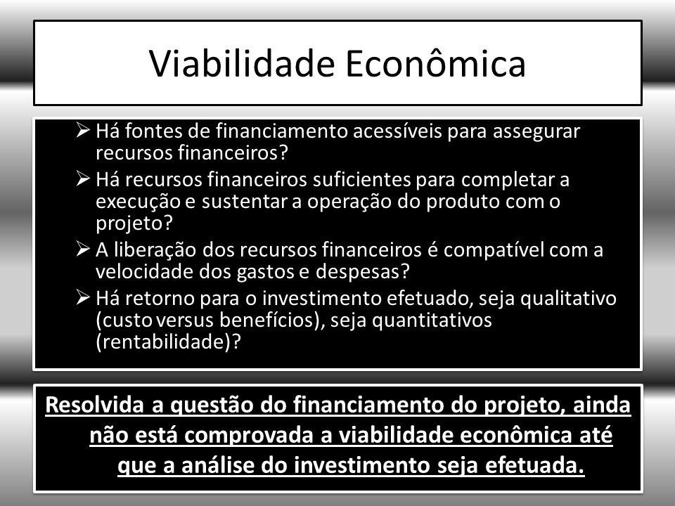 Viabilidade Econômica Há fontes de financiamento acessíveis para assegurar recursos financeiros.