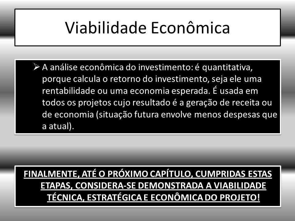 Viabilidade Econômica A análise econômica do investimento: é quantitativa, porque calcula o retorno do investimento, seja ele uma rentabilidade ou uma economia esperada.