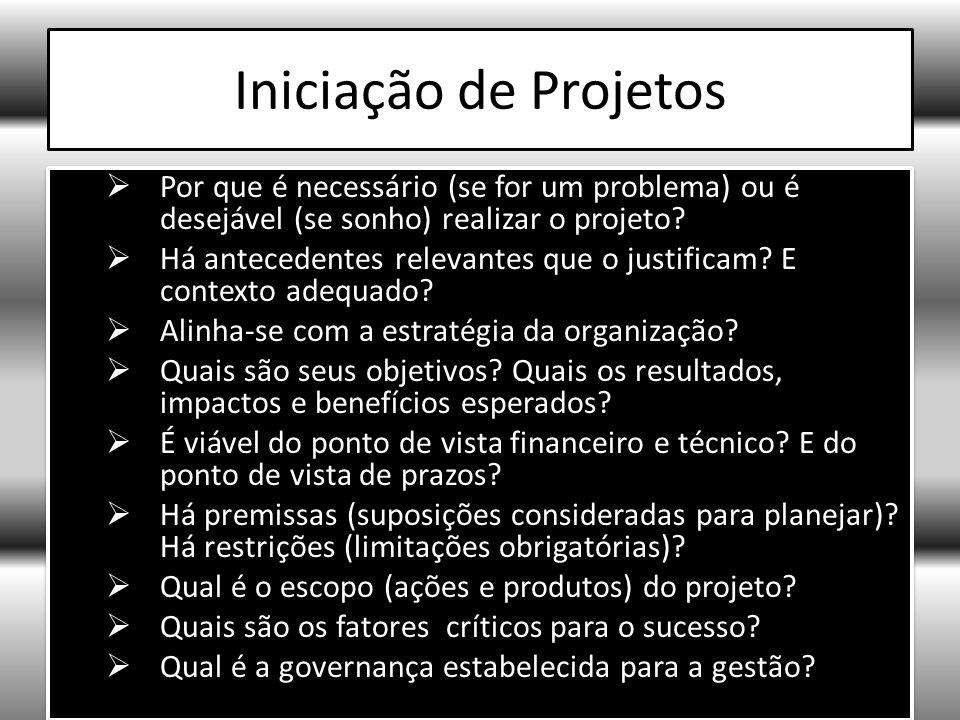 Iniciação de Projetos Por que é necessário (se for um problema) ou é desejável (se sonho) realizar o projeto.