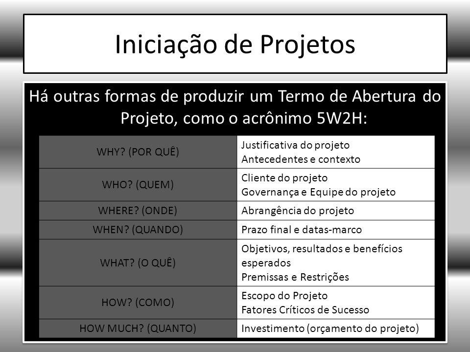 Iniciação de Projetos Há outras formas de produzir um Termo de Abertura do Projeto, como o acrônimo 5W2H: WHY.