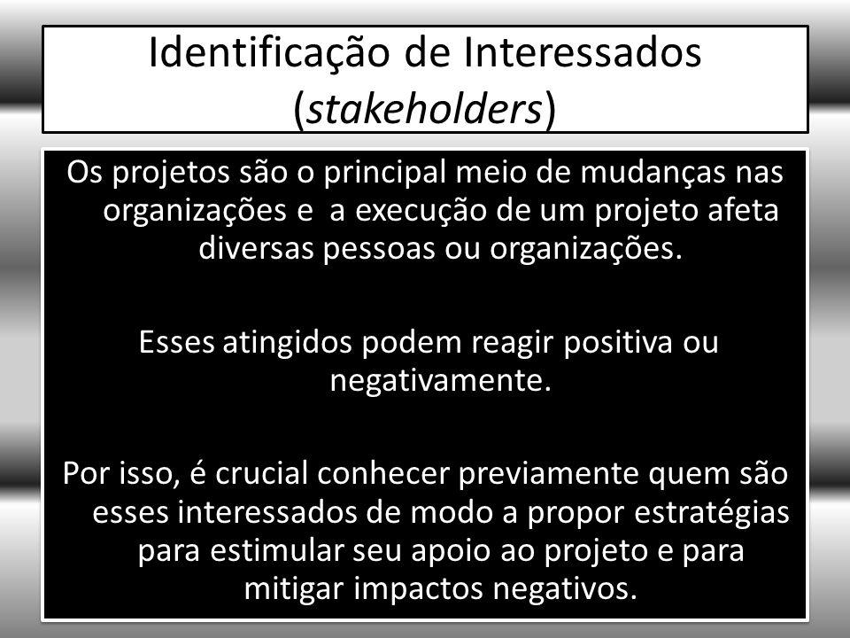 Identificação de Interessados (stakeholders) Os projetos são o principal meio de mudanças nas organizações e a execução de um projeto afeta diversas pessoas ou organizações.