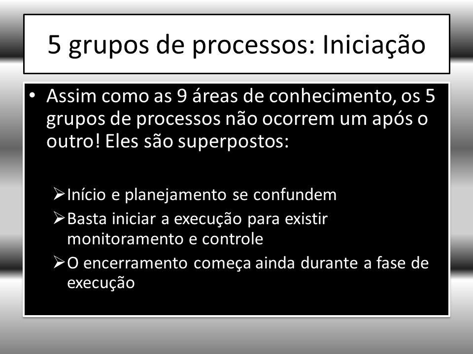 5 grupos de processos: Iniciação Assim como as 9 áreas de conhecimento, os 5 grupos de processos não ocorrem um após o outro.
