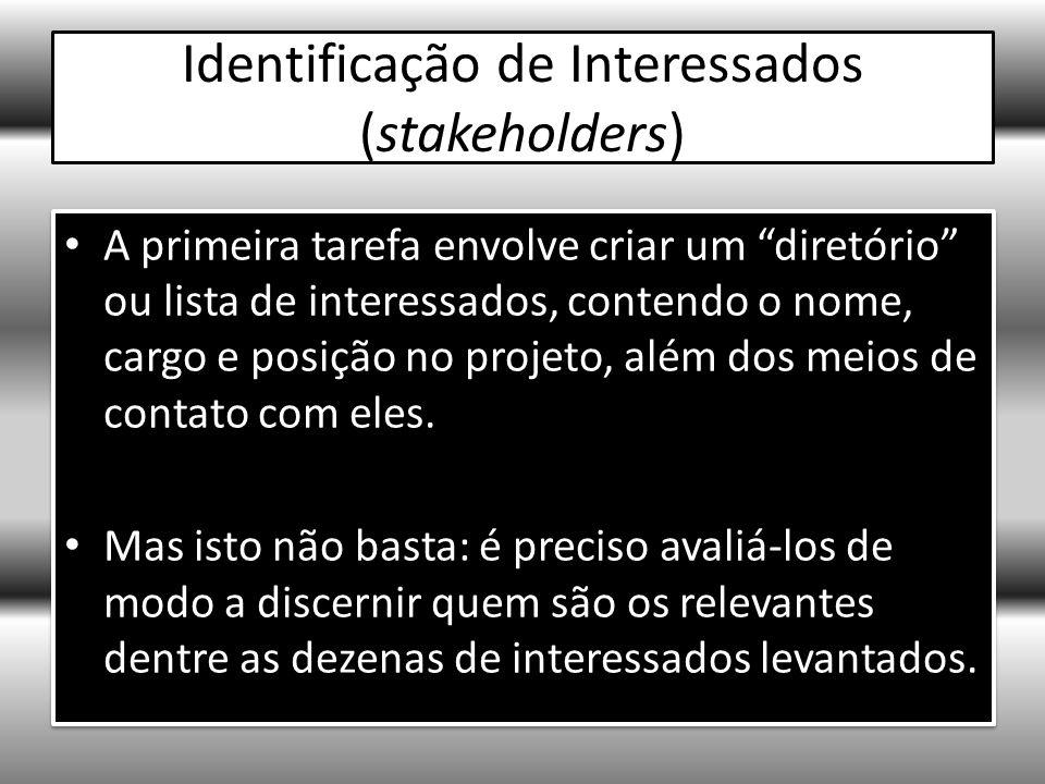 Identificação de Interessados (stakeholders) A primeira tarefa envolve criar um diretório ou lista de interessados, contendo o nome, cargo e posição no projeto, além dos meios de contato com eles.