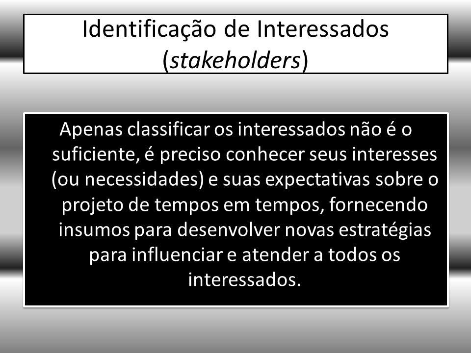 Identificação de Interessados (stakeholders) Apenas classificar os interessados não é o suficiente, é preciso conhecer seus interesses (ou necessidades) e suas expectativas sobre o projeto de tempos em tempos, fornecendo insumos para desenvolver novas estratégias para influenciar e atender a todos os interessados.