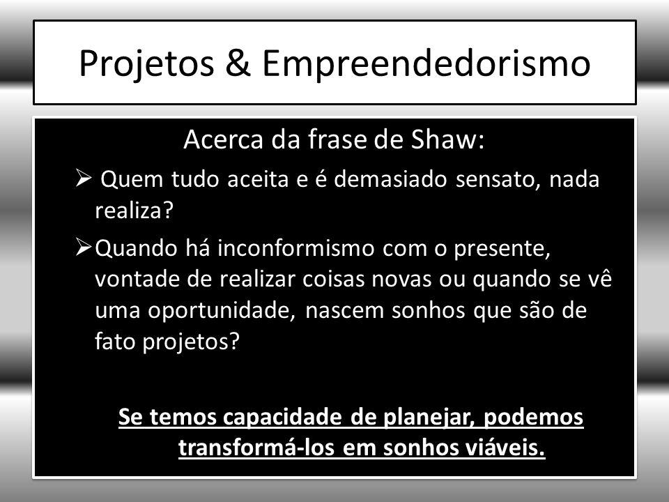Projetos filhos de sonhos viáveis (oportunidades) Os projetos que nascem de sonhos viáveis requerem: 1)Visão de futuro: determinar objetivos estratégicos de longo prazo 2)Reflexão estratégica: posicionamento estratégico-mercadológico 3)Visão sistêmica das relações e interdependências na organização & em seu contexto 4)Capacidade para gerar inovação Os projetos que nascem de sonhos viáveis requerem: 1)Visão de futuro: determinar objetivos estratégicos de longo prazo 2)Reflexão estratégica: posicionamento estratégico-mercadológico 3)Visão sistêmica das relações e interdependências na organização & em seu contexto 4)Capacidade para gerar inovação