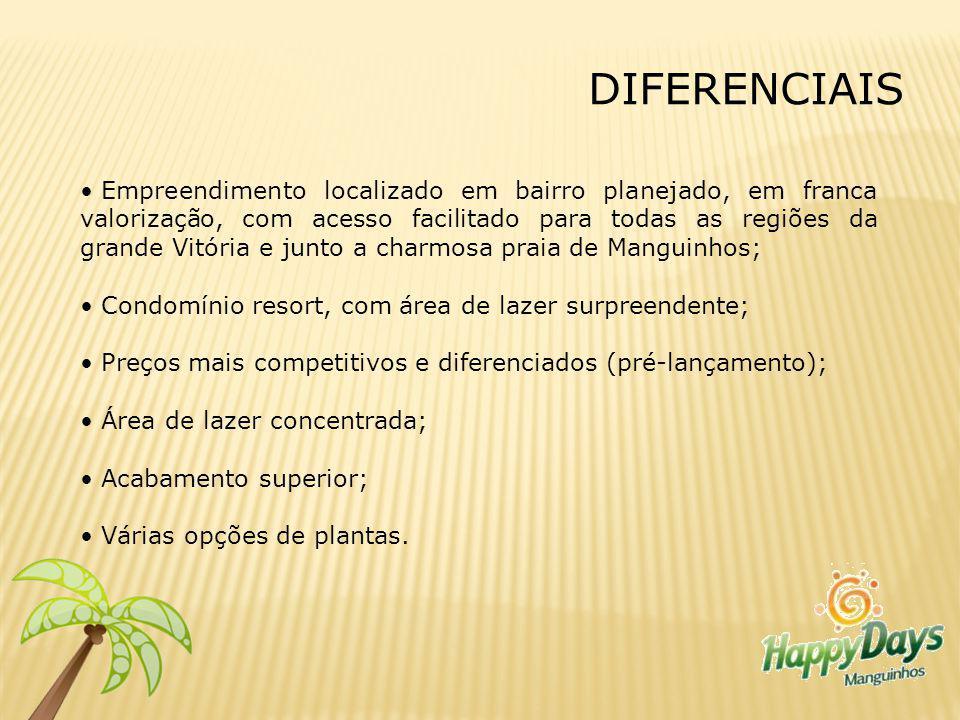 DIFERENCIAIS Empreendimento localizado em bairro planejado, em franca valorização, com acesso facilitado para todas as regiões da grande Vitória e jun