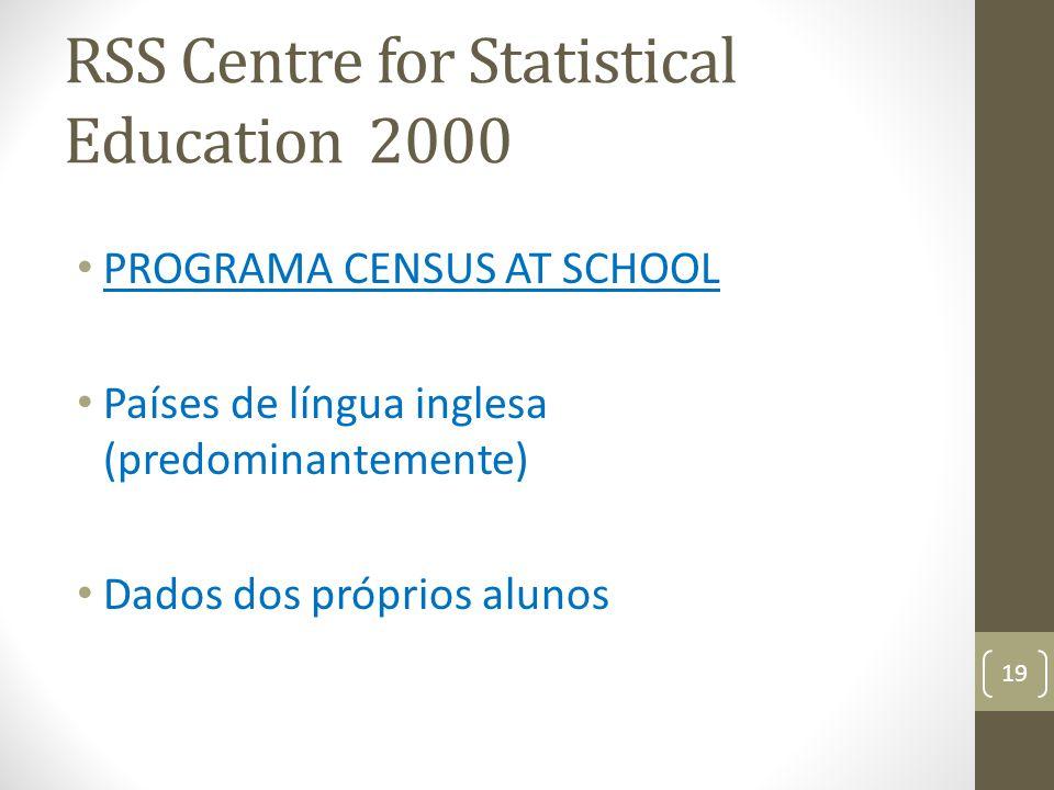 RSS Centre for Statistical Education 2000 PROGRAMA CENSUS AT SCHOOL Países de língua inglesa (predominantemente) Dados dos próprios alunos 19