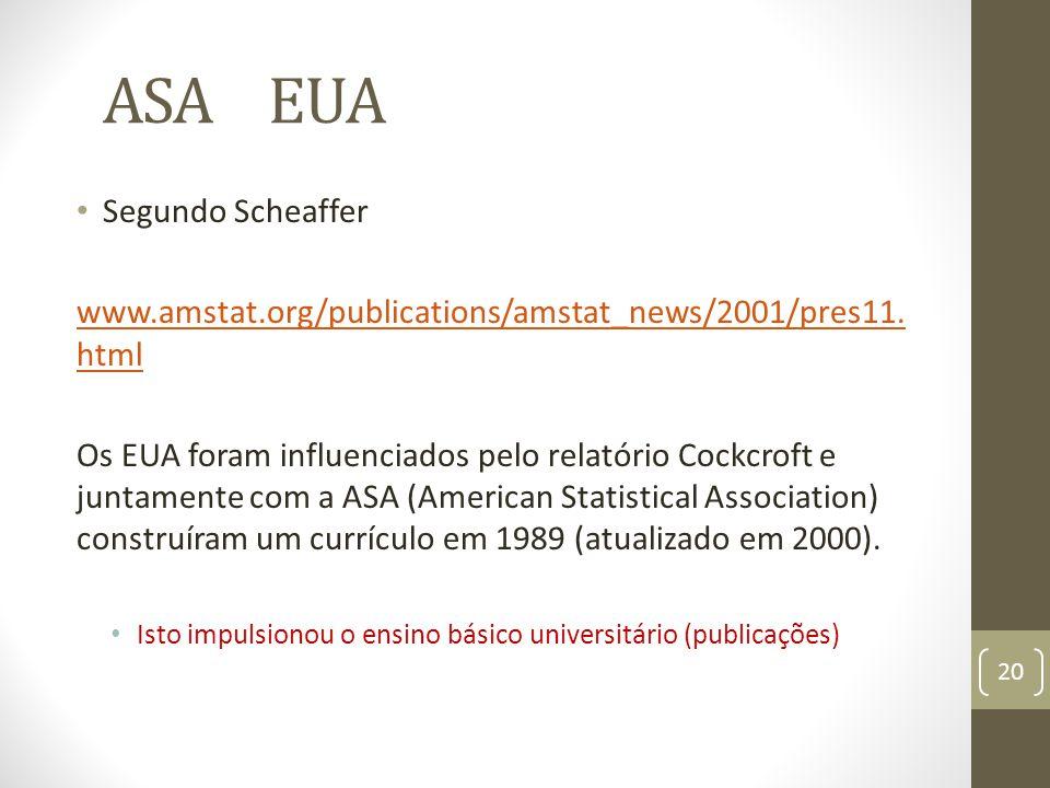 ASA EUA Segundo Scheaffer www.amstat.org/publications/amstat_news/2001/pres11. html Os EUA foram influenciados pelo relatório Cockcroft e juntamente c