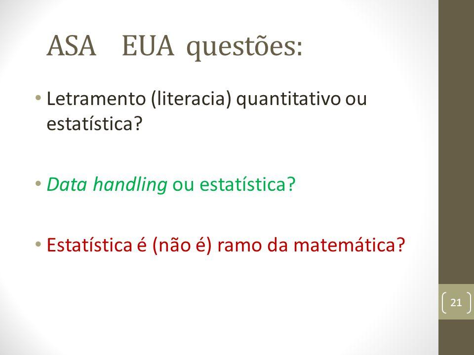ASA EUA questões: Letramento (literacia) quantitativo ou estatística? Data handling ou estatística? Estatística é (não é) ramo da matemática? 21