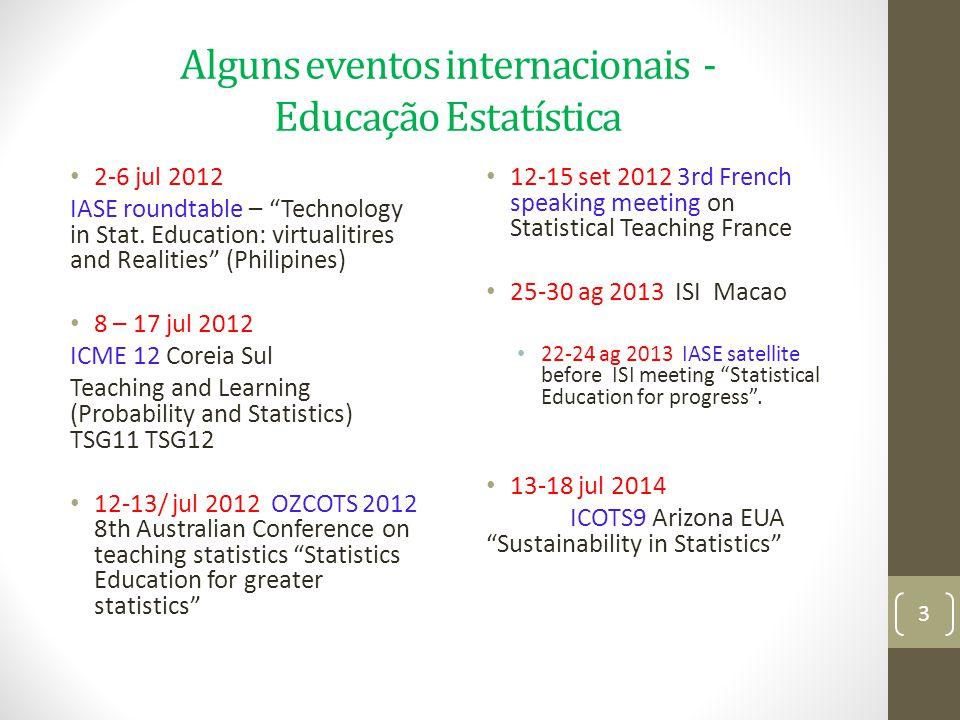 Alguns eventos internacionais - Educação Estatística 2-6 jul 2012 IASE roundtable – Technology in Stat. Education: virtualitires and Realities (Philip