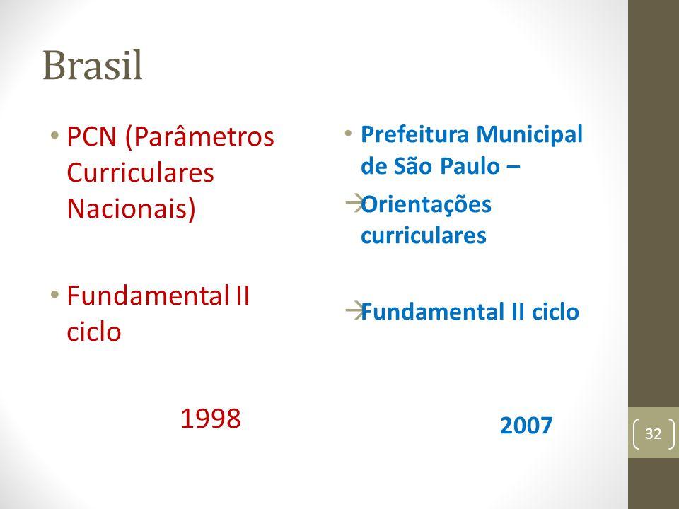 Brasil PCN (Parâmetros Curriculares Nacionais) Fundamental II ciclo 1998 Prefeitura Municipal de São Paulo – Orientações curriculares Fundamental II c