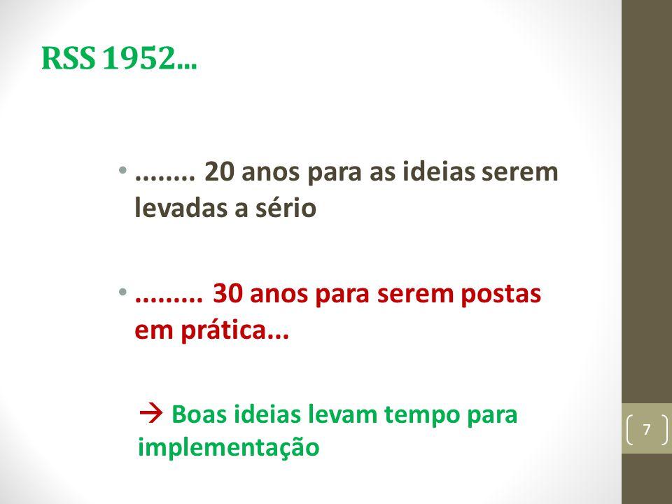 RSS 1952........... 20 anos para as ideias serem levadas a sério......... 30 anos para serem postas em prática... Boas ideias levam tempo para impleme