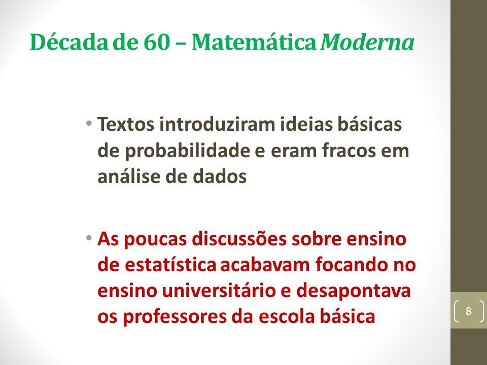 Década de 60 – Matemática Moderna Textos introduziram ideias básicas de probabilidade e eram fracos em análise de dados As poucas discussões sobre ens