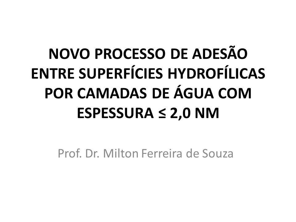 Prof. Dr. Milton Ferreira de Souza NOVO PROCESSO DE ADESÃO ENTRE SUPERFÍCIES HYDROFÍLICAS POR CAMADAS DE ÁGUA COM ESPESSURA 2,0 NM
