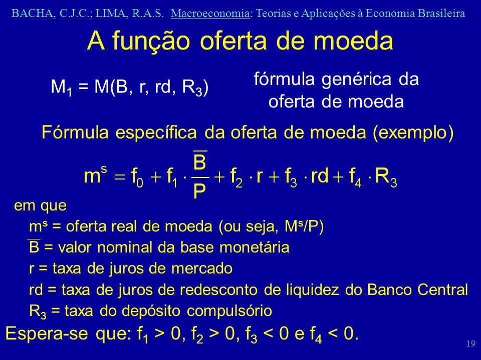 BACHA, C.J.C.; LIMA, R.A.S. Macroeconomia: Teorias e Aplicações à Economia Brasileira 19 A função oferta de moeda M 1 = M(B, r, rd, R 3 ) em que m s =